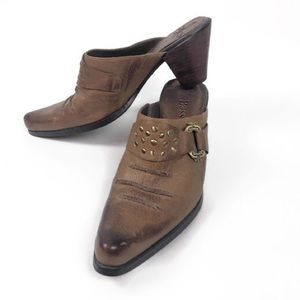 Bass Mesquite Brown Leather Cowboy Boot Mules